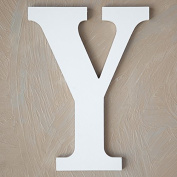 "The Lucky Clover Trading ""Y"" Wood Block Letter, White"