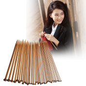 Vktech 36Pcs 18 Sizes Carbonised Bamboo Knitting Needles Single Smooth Crochet