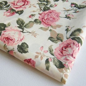 Flower Rose in Sweet Vintage Pink Red Roses Bouquet Wedding, Bunch on Off White Fabric 90cm by 90cm Wide (1 Yard)