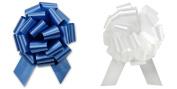 Christmas Gift Wrap- White & Royal Blue Satin Pull Bows Value Pack - 12 Pcs
