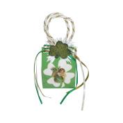 "Miniature Music Box Mini Gift Bag - Green Clover design ""When Irish Eyes Are Smiling"""