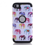 iPod Touch 6 Case Shockproof, SAVYOU Apple iPod 6 Cover Elephant Pattern Hybrid 3 IN 1 Silicone+PC Combo Case Cover for Apple iPod Touch 6