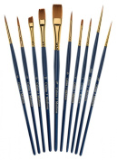 Art Brush Set-10 Piece Golden Nylon-Watercolour and Acrylic Detail Paint Brushes-Short Handle-Model Painting-Face Painting-Paint By By Numbers-Any Detail Painting