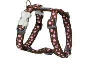 Red Dingo DH-S1-BR-SM Dog Harness Design Pink Dots on Brown Small