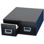 MMF Industries MMF263F5816DBLA Card Cabinet File- 2-Drawer- 3000 Card Cap- 13cm .x 8in.- Black