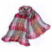 Blancho Bedding Pa-a87 Pink Cheques Arcadian Style Cute Silky Soft Woven Tassel Ends Pashmina/Shawl/Scarf