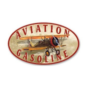 Past Time Signs OS001 Aviation Gasoline Aviation Oval Metal Sign