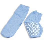 Slipper Socks; Large Sky Blue Pair Mens 7-9 Wms 8-10