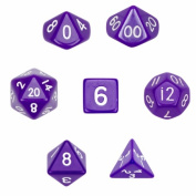 Brybelly GDIC-1104 7 Die Polyhedral Dice Set in Velvet Pouch-Opaque Purple