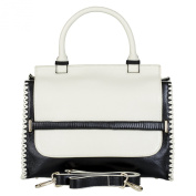 BELUCIA IZANO TOP HANDLE BAG CALFSKIN LEATHER 'OLD' WHITE / BLACK, $4.49 Shipping