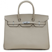 Macton European and American Classic Padlock Genuine Leather Top Handle Handbags Mc-1329