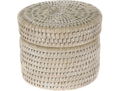 La Jolla Round Rattan Container with Plastic Insert and Twist-Off Lid, Small, White Wash