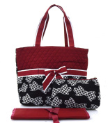 Houndsttoth Bow Tie Print Quilted Nappy Bag