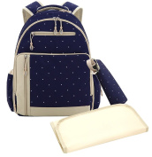 Sleeping Lamb Baby Travel Backpack Nappy Bag with Insulated Zippered Bottle Bag 3 Pieces Set