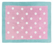 Turquoise and Pink Polka Dot Skylar Girls Accent Floor Rug