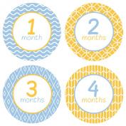 Baby Monthly Stickers . Pattern - Baby Boy Milestone Onesie Stickers - 1-12 Months - Pinkie Penguin