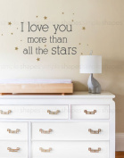 I Love You More Than All The Stars Quote Lettering Wall Decal - by Simple Shapes ®