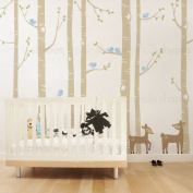 """Birch Tree with Bird and Deer Wall Decals - scheme A - 108"""" (274 cm) Tall Trees - by Simple Shapes ®"""
