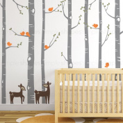 "Birch Tree with Bird and Deer Wall Decals - scheme B - 96"" (243 cm)Tall Trees - by Simple Shapes ®"