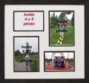 Collage Photo Black Frame 4-opening 4x6 with 5x7 Black and White Picture Frame