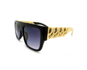 High Fashion Metal Chain Arm Flat Top Aviator Sunglasses