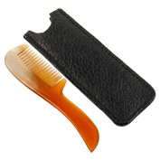 Genuine 100% Horn Moustache & Beard Comb with Leather Case from Parker Safety Razor