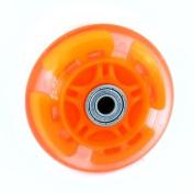 Skating Shoes 80mm Dia 608ZZ Bearing Orange Red Flashing Skate Wheel