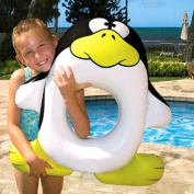 70cm Black, White and Yellow Penguin Swimming Pool Inflatable Ring Tube