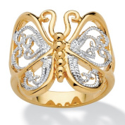 PalmBeach Jewellery 1324410 Filigree Butterfly Ring in 18k Gold-Plated Size 10