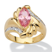 PalmBeach Jewellery 130439 2.05 TCW Marquise-Cut Pink Cubic Zirconia Ring in 14k Gold-Plated Size 9