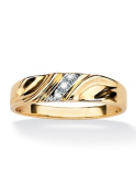 PalmBeach Jewellery 5073110 Mens Diamond Accent 18k Gold over Sterling Silver Diagonal Wedding Band Ring Size 10