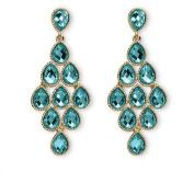PalmBeach Jewellery 5307412 Birthstone Chandelier Earrings in Yellow Gold Tone December - Simulated Topaz