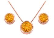 Fine Jewellery Vault UBPDERV20AGVRRCT November Birthstone Citrine Pendant and Stud Earrings Set in 14K Rose Gold Vermeil