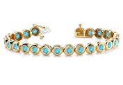 Fine Jewellery Vault UBUBRBK7170Y14BT Created Blue Topaz Tennis Bracelet in 14K Yellow Gold. 10.50 ct.tw.