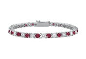 Fine Jewellery Vault UBUBR10WRD131500CZR Created Ruby and Cubic Zirconia Prong Set 10K White Gold Tennis Bracelet 5 CT TGW