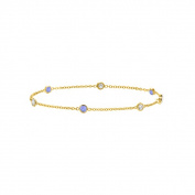 Fine Jewellery Vault UBBR14Y3530DTZ Tanzanite and Diamond Bracelet 14K Yellow Gold 0.75 CT TGW