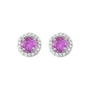 Fine Jewellery Vault UBNER40589W14CZAM600 February Birthstone Amethyst and CZ Halo Stud Earrings in 14kt White Gold 2.25 CT TGW