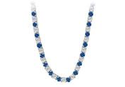 Fine Jewellery Vault UBNK16W14DS 14K White Gold Sapphire Diamond Eternity Necklace 16 CT TGW