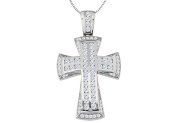 Fine Jewellery Vault UBPDR1006W14D Religious Necklace of Cross in 14K White Gold 1.15 Carat Diamond Channel Setting