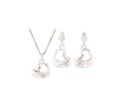 Fine Jewellery Vault UBPDERS68532AGD Diamond Heart Necklace and Earrings Set 925 Sterling Silver 0.01 ct tw