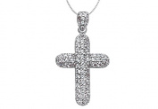 Fine Jewellery Vault UBPDR711W14D 1 Carat Diamond Cross of Religious Necklace in 14K White Gold