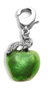 Whimsical Gifts 2051S-green Green Apple Charm Dangle in Silver
