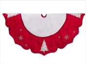 NorthLight 140cm . Red And White Embroidered Jewelled Tree And Snowflake Christmas Tree Skirt