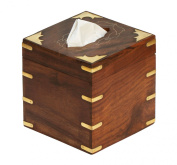 StarZebra Wooden Facial Tissue Box Cover Holder VINE Design - Rosewood Etched with Brass Work for Kleenex Boutique Tissues