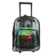 Harvest LM214 Black Wheeled Deluxe 17 in. See-through Clear 0.5 mm. PVC Backpack