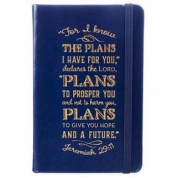 Christian Art Gifts 367050 Notebook - Fauxleather - I Know The Plans - Blue With Elastic Band Closure