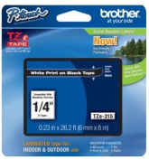 Brother TZE315 TZe Standard Adhesive Laminated Labelling Tape 1/4w White on Black