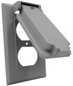Hubbell Electrical 1C-DV Vertical Duplex Gang Flip Snap Cover Grey