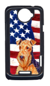 Carolines Treasures LH9005HTCONE USA American Flag With Airedale HTC One X Cell Phone Cover