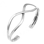 High Polished Sterling Silver . Infinity Shape Cuff Bangle with Bangle Width of 18MM
